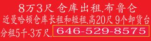 仓库出租646-529-8575